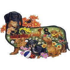 Delightful Dachshunds Dog Breed 750  Piece Shaped Jigsaw Puzzle $18.99