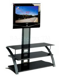 Gloss Black Finished TV Stand with Curved Side Rails Magazine Rack, It Is Finished, Digital, Tv, Storage, Furniture, Black, Home Decor, Purse Storage