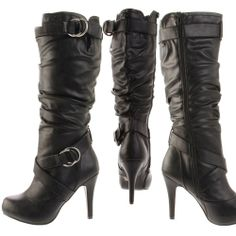 Material: Man Made Leather Material. True to size, Mid-Knee High Boots Opening Circumference: ~14 inches Zipper along inside. 4.5 inch heel, 0.5 inch platform Product Code: Althea-23 Black PU Cushe Surf Slipper, Black Dress Shoes Womens 7.5, Black Tassel Boots