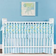 Little House Crib Bedding Set Ikat Teal