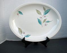 Paden City Biscayne  Aqua Floral Large Oval Platter Mid Century by MarieWarrenArts on Etsy