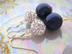 Lauren-Bridesmaids Navy Earrings.Swarovski Night Blue pearl and Silver Rhinestone Balls.Wedding Earrings on Etsy, $34.00
