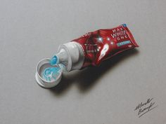 Hyperrealistic speed drawing of a toothpaste tube by marcellobarenghi on DeviantArt