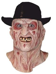 Nightmare on Elm Street Freddy Krueger Mask with Hat Full over the head latex mask of one of the scariest screen horror characters ever created. Each mask is Scary Halloween Masks, Halloween Party Costumes, Halloween Ideas, Scary Mask, Freddy Krueger Mask, Zombie Dolls, Horror Masks, Halloween Costume Accessories, Cement