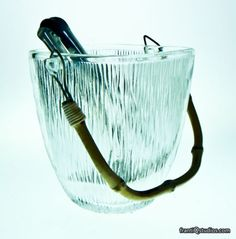 60's Retro Modern Danish Glass Bamboo Ice Bucket via scandinavianantiquesandmoderndesign    #Ice_Bucket #Glass #Vintage #Danish