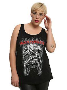 Iron Maiden Mummy Eddie Girls Tank Top Plus Size, BLACK