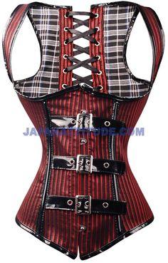 Corset à bretelles rouge et noir rayé avec attaches pvc