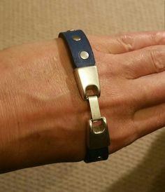 Handmade navy leather rivet cuff bracelet stainless steel clasp made to fit any  size