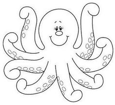 Octopus Coloring Pages. The octopus is a seawater animal, like all cephalopods, is very territorial, therefore solitary and nocturnal. You can find The Octopus Octopus Coloring Page, Animal Coloring Pages, Coloring Book Pages, Applique Templates, Applique Patterns, Octopus Colors, Sea Theme, Felt Patterns, Coloring For Kids