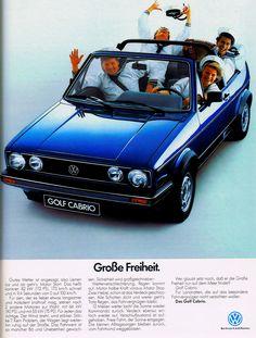 Golf 1 Cabriolet, Vw Cabrio, Vw Mk1, Volkswagen Golf, 70s Cars, Car Advertising, Old Ads, Vintage Ads, Flyers