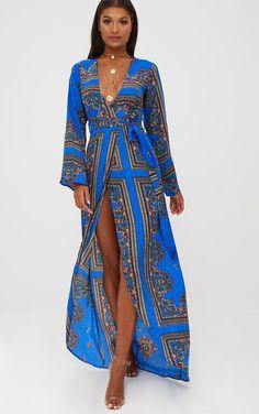 dc19e3d1c7 Cobalt Print Satin Kimono Maxi Dress. Shop the range of Dresses today at  PrettyLittleThing