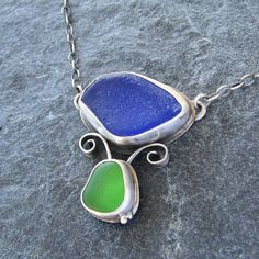 Sea Glass Jewelry Necklace Beach Glass Jewelry Cobalt Blue and Emerald Green