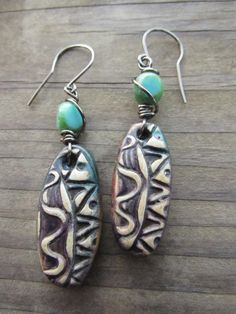 Tribal Doodle Polymer Clay Blue Rustic Boho Gypsy Wire Wrapped Earrings with Turquoise Glass Bead by SpontaneousSoul on Etsy https://www.etsy.com/listing/216486036/tribal-doodle-polymer-clay-blue-rustic