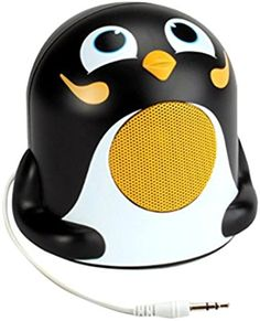 GOgroove Pal Jr Mini Cute Animal Battery Powered Portable Speaker with LED Night Light (Penguin) Speaker for Kids - Passive Subwoofer, Built-in 3.5mm AUX Cable - Plug Into Tablets, Phones, more