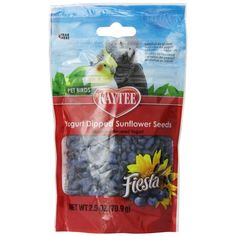Kaytee Fiesta Yogurt Dipped Sunflower Seeds Treats for Pet Birds blend extreme flavors, real fruit pieces and a creamy yogurt coating for a colorful explosion of taste and texture! These dipped treats are a wholesome, healthy way to give your pet a specia