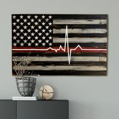Firefighter Gift Paramedic Gift Thin Red Line Wood Flag Firefighter Bedroom, Firefighter Decor, Wildland Firefighter, Female Firefighter, Firefighter Quotes, Volunteer Firefighter, American Flag Wood, American Pride, Paramedic Gifts