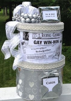 LGBTQ WeddingLGBTQ Wedding Giftwedding Card Box Silverpersonalizedlargegay