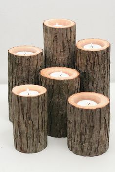 Tree Branch Candle Holders I- Rustic Wedding Centerpiece, Wood Candle Holders, Tree Slice, Woodland Candle Holders. $32.50, via Etsy.