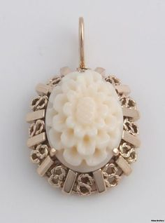 Carved Shell Cameo Vintage Pendant 14k Yellow Gold Floral 4 3G Detailed Oval | eBay