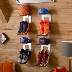 Shoe & Hat Metal Wall Organization - Fitness and Exercises, Outdoor Sport and Winter Sport Boy Sports Bedroom, Boys Bedroom Decor, Sports Bedroom Themes, Teen Bedroom, Bedroom Ideas, Boys Sports Rooms, Football Bedroom, Teen Boy Rooms, Big Boy Bedrooms