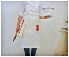 unisex cafe apron 100% linen hand-screen printed - sustainable apron – celina mancurti