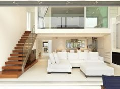Extravagant Modern White Color Minimalist Big Sofas Design Ideas In Bright Living Room Interior Combined With Stylish Staircase Decor