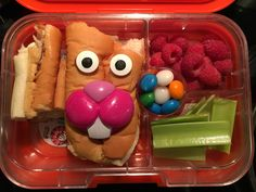 Turkey & cheese bunny sandwich, raspberries, celery, AirHead bites  :)