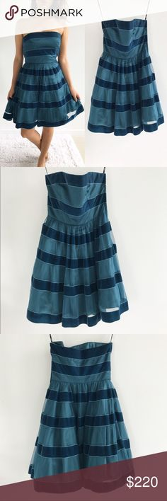 """Betsey Johnson Velvet Stripe Evening Tea Dress Betsey Johnson Velvet Stripe Evening Tea Dress! This dress is super playful and fun to wear! Excellent condition, no flaws. Strapless. Zippers down the side. Fitted to poofy. Tulle under. Velvety soft stripes. 100% polyester.  Chest-31"""" waist-26"""" hips-42"""" length-30"""" Betsey Johnson Dresses Mini"""