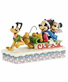 Jim Shore Collectible Disney Figurine, Mickey & Minnie on Sled