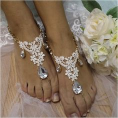 barefoot sandals - lace -beach wedding jewelry - lace - diamante - woman