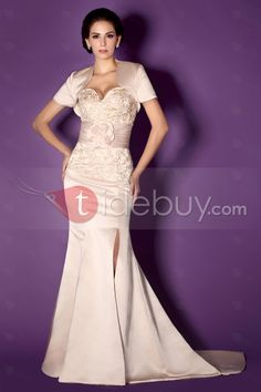 d54825912332a エレガントスウィートハートネックレースフラワースイープミセスドレス ウェディングドレス