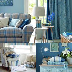 Идея интерьера в сине-голубых тонах! #интерьер #декордлядома #дизайн #диван #lauraashleyru