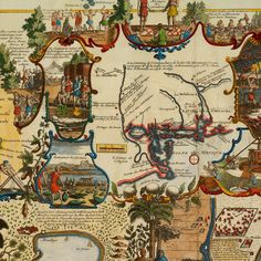 World map from 1719 by Chatelain - closeup