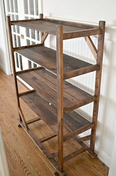 love this old shoe rack could use for storing wine