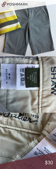 Eddie Bauer Shaw Shorts  Eddie Bauer gray shorts. Shaw style long shorts with cute button trim in back. Excellent shape. Size 2. Eddie Bauer Shorts
