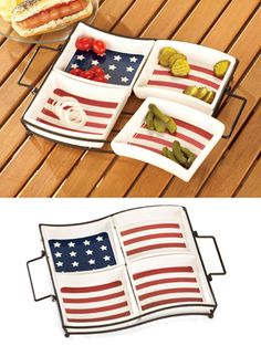 American Flag Patriotic Serving Tray Set with Caddy