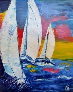 Peint la main paysages abstraitsmodern un panneau toile for Peinture interieur bateau