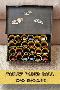 This is an easy way to build a toy car garage out of a shoebox and toilet paper rolls!