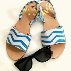 DV8 Dolce Vita Sandals White with Santorini blue accents, white soles. NWOT, worn inside and still in excellent condition! DV by Dolce Vita Shoes Sandals