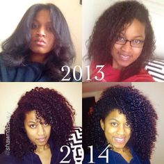 Amazing Transformation  @shawntasway &Ewwww look at my curls in 2013 they were so damage and not curls at all! I can;t believe I bounce back like that from completely damage hair to healthy hair without even doing a big chop or anything like that..I definitely not against the big chop though! Transitioning takes ALOT of patiences! But what I was doing worked! My curls came back to life! And my hair is so long now! ; #Hair2mesmerize #naturalhair #healthyhair #blackhairstyles #transitioning