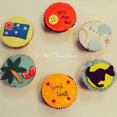 #goodbye my #friend .. For a friend whose moving to the #landdownunder #australia #kangaroo #flag #australiaflag #smiley #airplane #clouds #palmtree #beach #aeroplane #flight #fly #farewell #farewelltheme #cupcAkes #customised #customisedcupcakes #flipflops #atyummy #chocolatecupcakes #vanillacupcakes