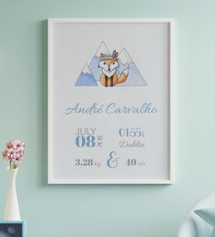 'Jimmy the Fox' is a super cute hand drawn Birth Announcement design from our 'Day One' collection, suitable for all nurseries or baby and toddler room.  'Day One' is all about the memories of one of the best days of our lives - the day your baby gave their first breath and, surely, a day you will never forget.  This artwork will be a beautiful and elegant finishing touch to your baby's nursery and it also makes the perfect gift for new parents. Baby Room Wall Decor, Nursery Room, Newborn Birth Announcements, Custom Made Gift, Gifts For New Parents, Nursery Signs, Forest Friends, Baby Birth, Nurseries