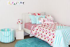 Am not into bland colours - uhh uhh!. Girls, me included, want things bright & bubbly & fun. So am loving the Lucy quilt cover with LOL comforter & aquamarine rug #patersonrose #girlsrooms #girlslinen #girlsbedding #lucy #aqua #rugs