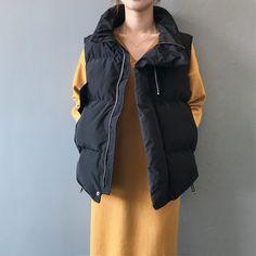 Simple Loose Stand Collar Zipper Cotton Vest | Down Vest, Puffer Vest, puffer outfit Cotton Vest, Down Vest, Puffer Vest, Types Of Collars, Fashion Games, Rain Jacket, Windbreaker, Raincoat, Zipper