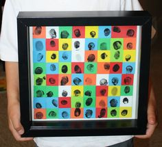"Thumbprint Art - use 1"" squares of self-adhesive foam, have the squares pre-cut ready for the kids to stamp their fingerprints on, when they are dry adhere them to cardstock and frame."