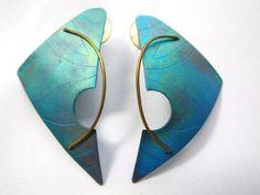 Anodized Aluminum Earrings Vintage 80s Avant Garde Geometric