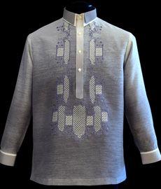 Monochromatic Gray Jusilyn Barong Tagalog - Barongs R us Barong Tagalog, Filipiniana Dress, Line Shopping, Color Combos, Suits, Pinoy, Stylish, Sweatshirts, Long Sleeve