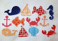 SHIPS FREE, set of 12 Nautical baby shower activity Iron On appliques , Ocean and sailing theme onsies appliques, 25% to Charity