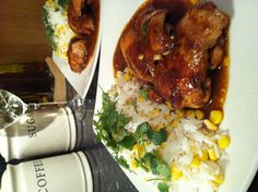 Sticky Asian BBQ chicken with sweetcorn rice & homemade coleslaw - Lorraine Pascale recipe :)