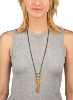 Shop Prima Donna - Kinetic Two-Tone Pendant Necklace Hematite/Gold
